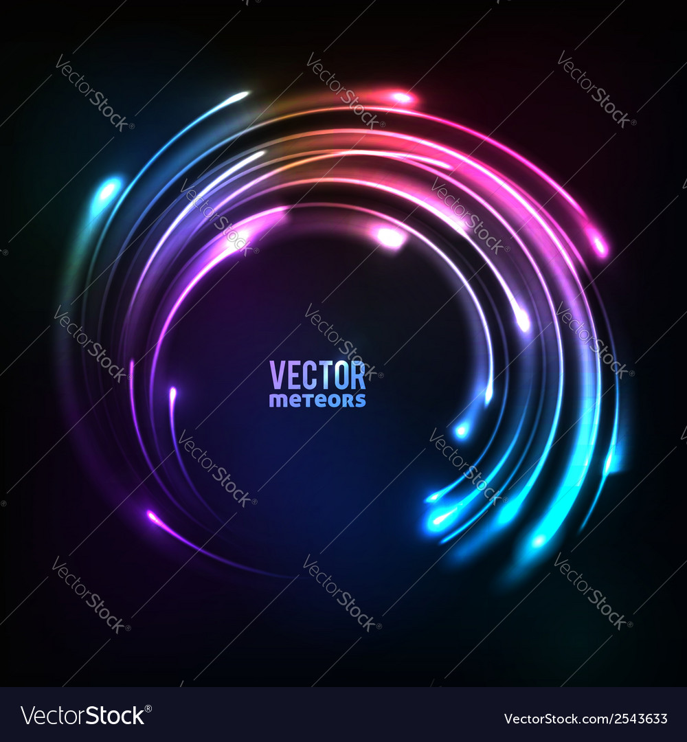 Shining rainbow neon lights circle frame vector
