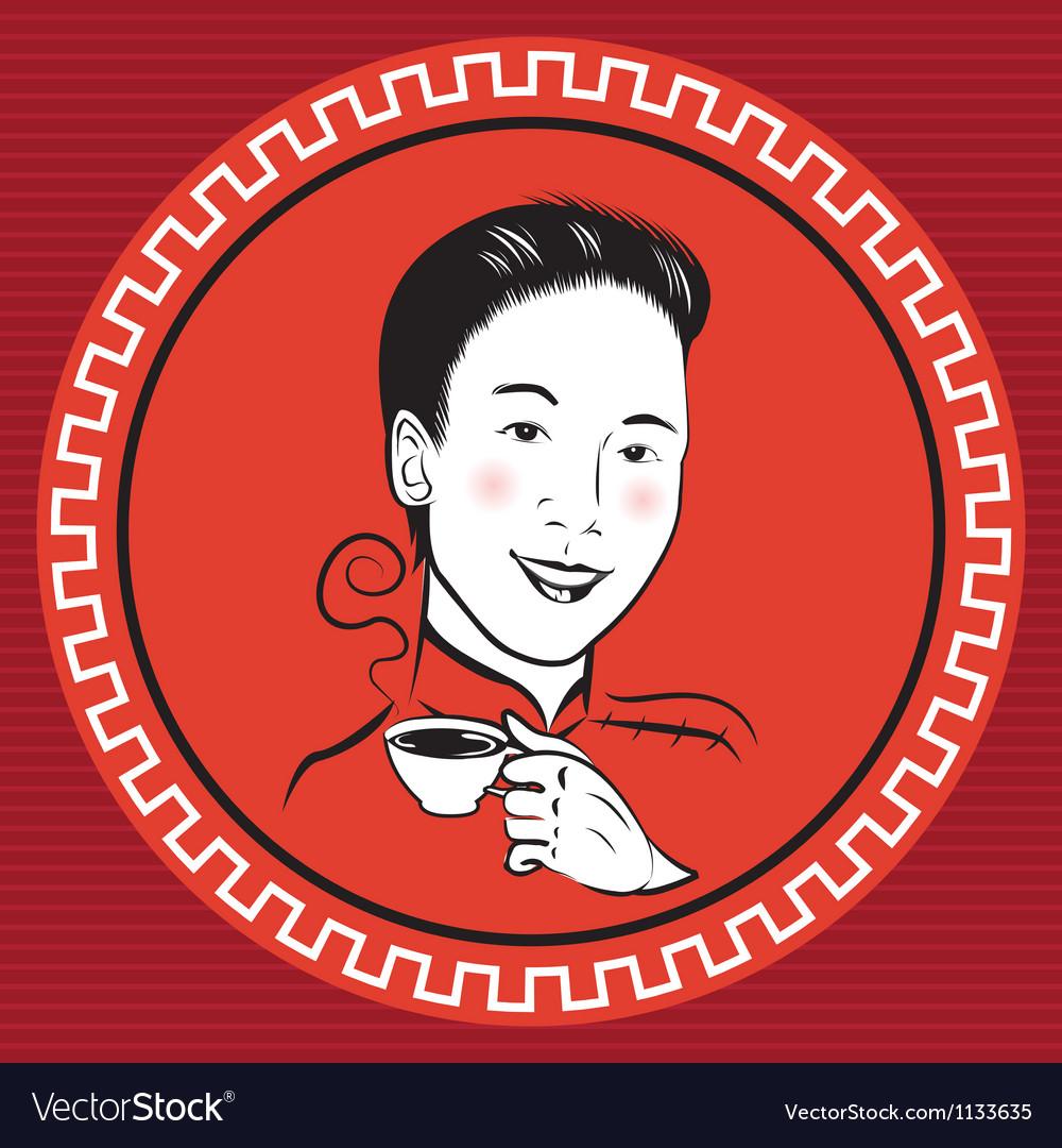 Chinese retro person vector