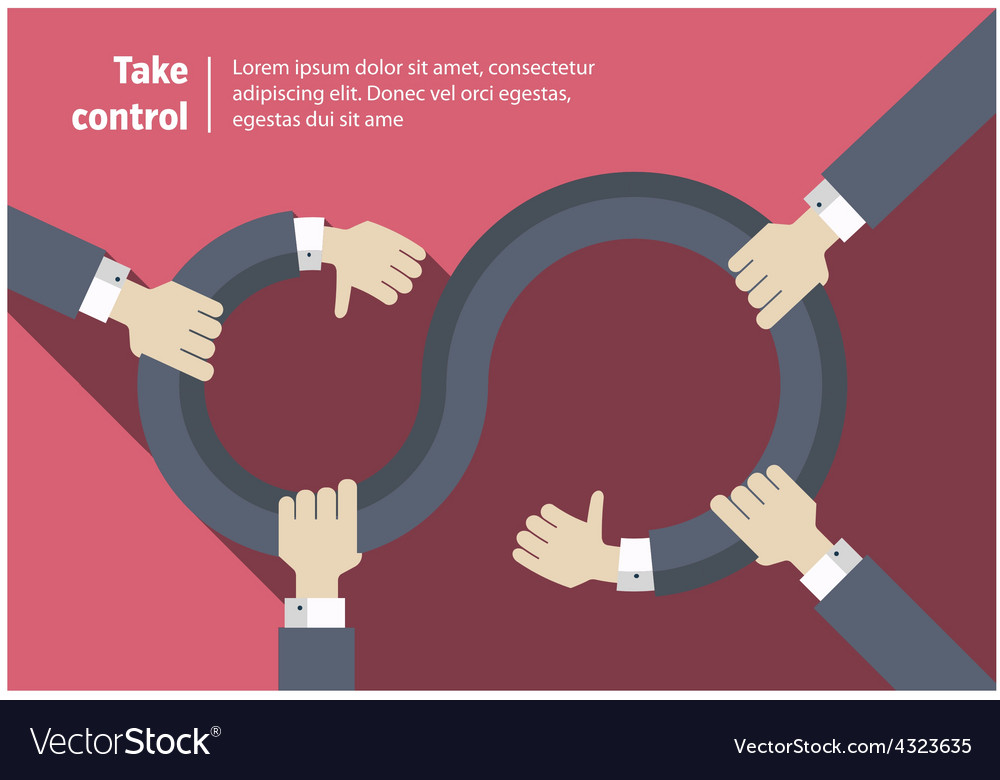 Take control infinity abstract symbol with hands vector