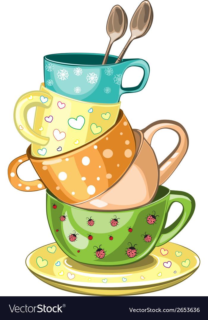 Stacked tea cups vector