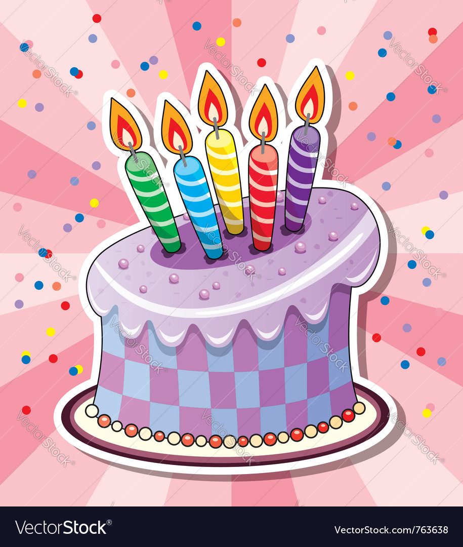 Birthday cake with candles vector