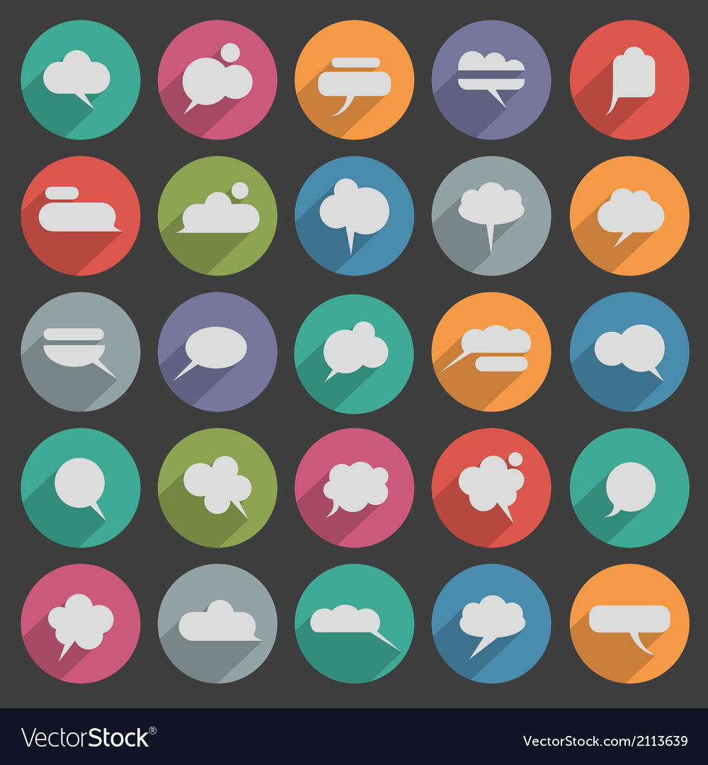 Message bubble icons with long shadow vector