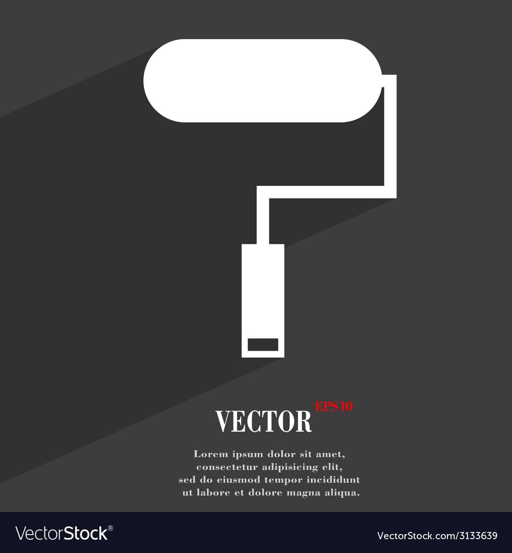 Paint roller icon symbol flat modern web design vector