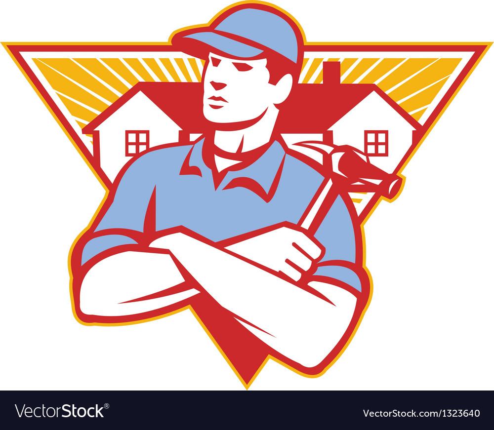 Builder construction worker hammer house vector