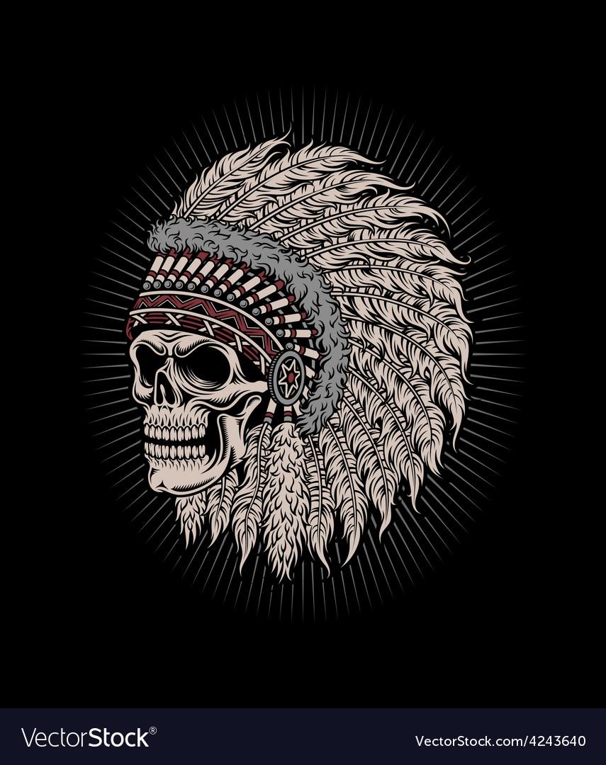 Native american indian chief skull vector