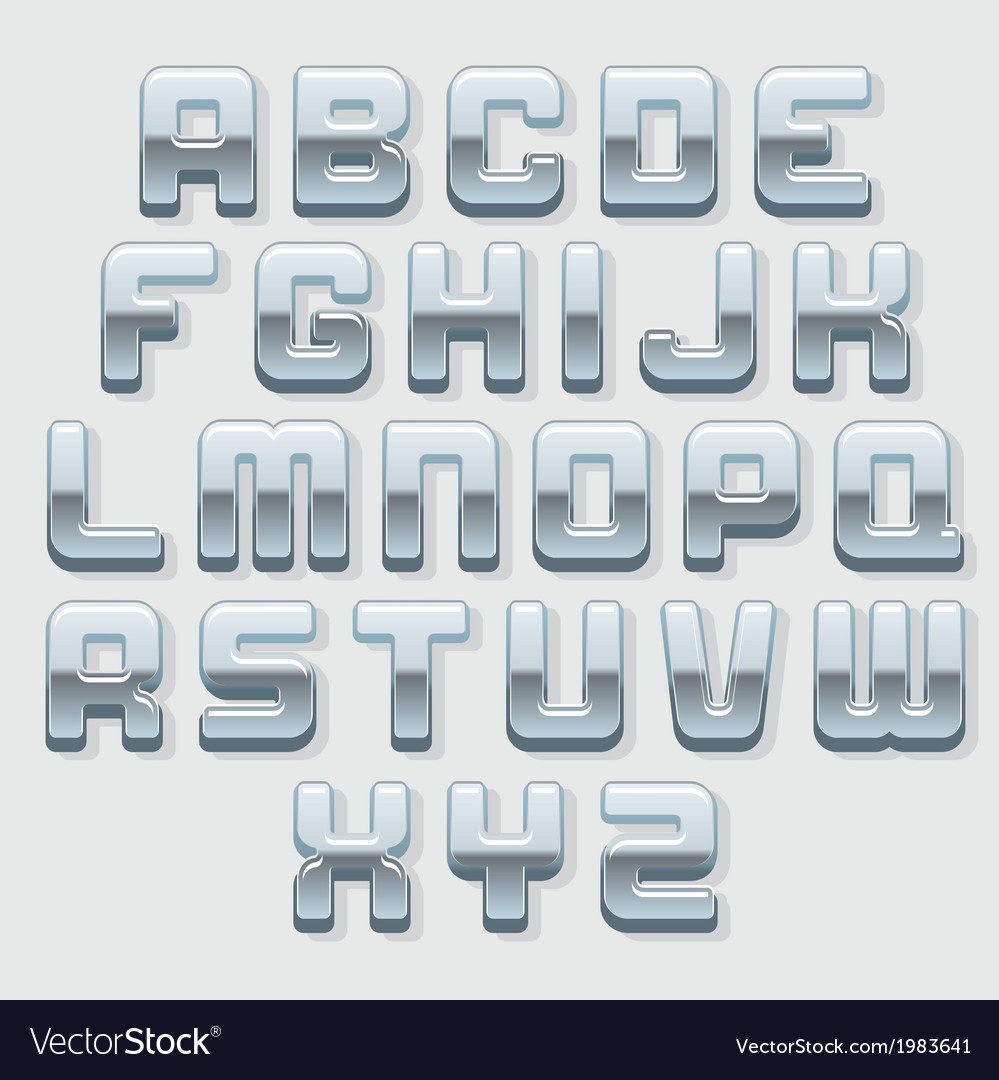 Chrome metallic font set vector