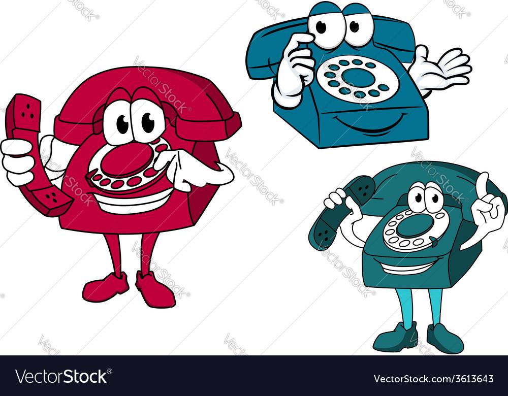Cartoon dial telephone characters vector