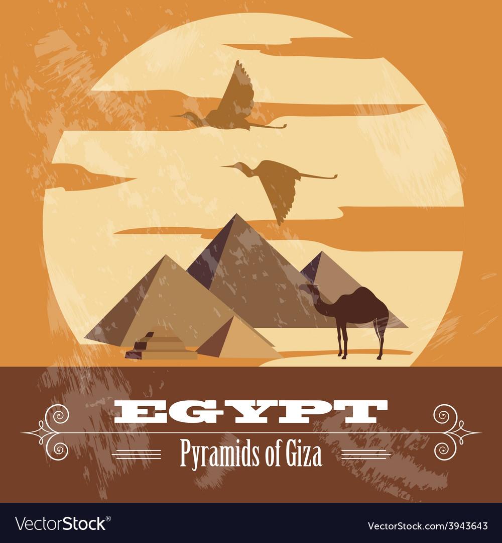 Egypt landmarks retro styled image vector