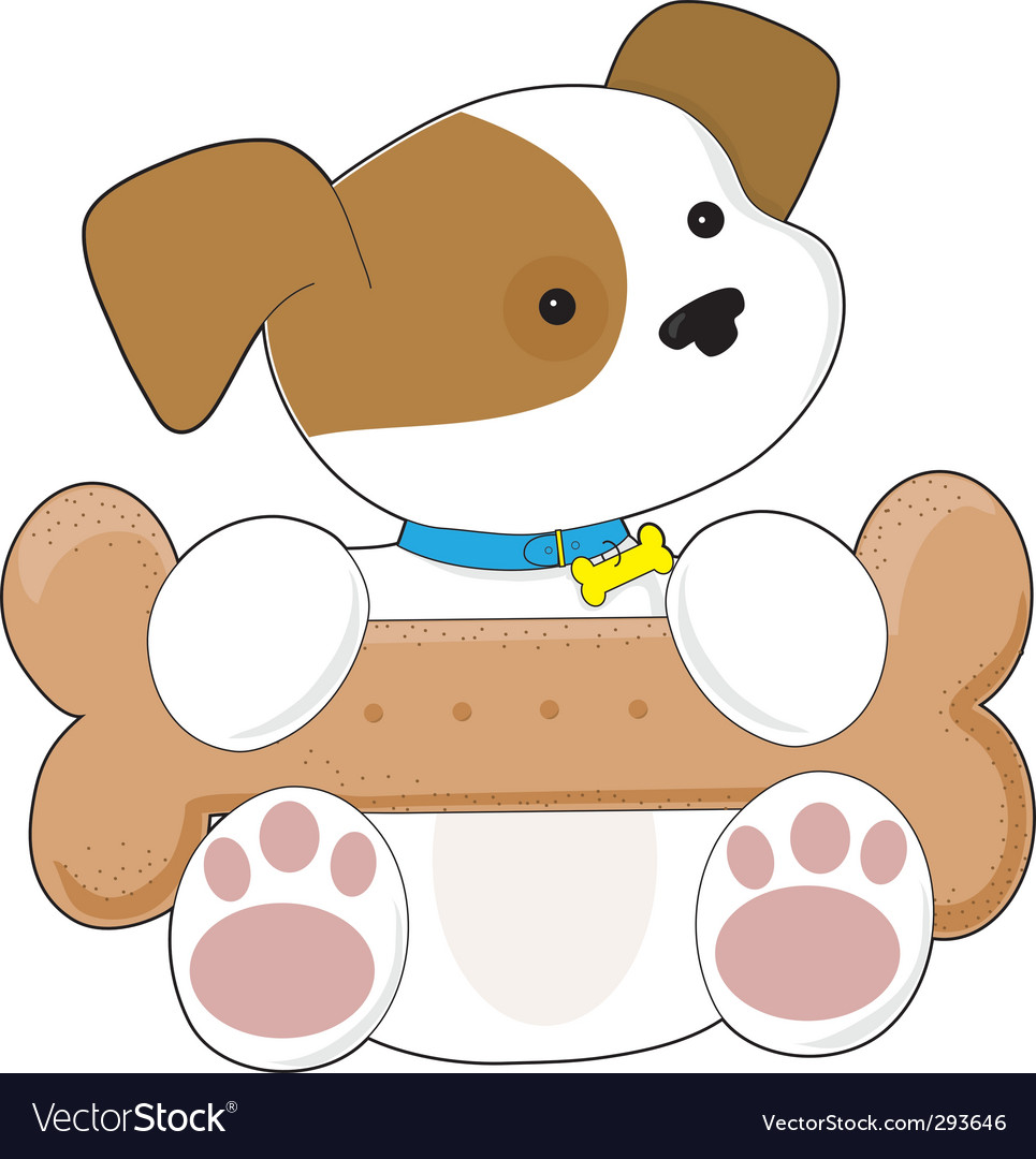 Cute puppy and snack vector