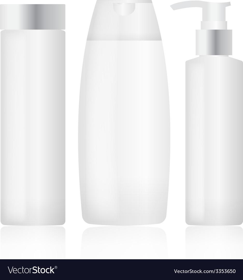 Set of plastic bottles cosmetic packaging vector