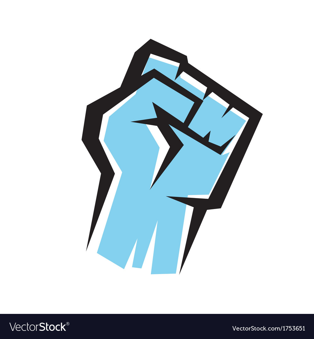 Fist stylized icon revolution concept vector
