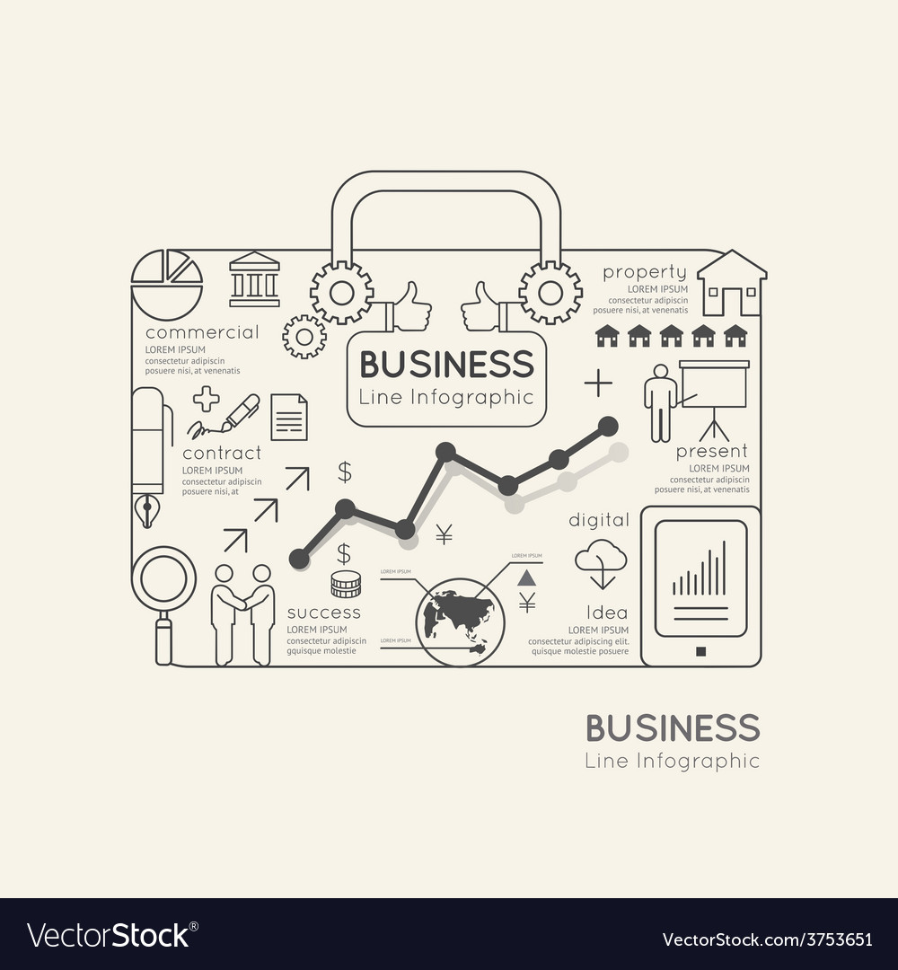 Flat linear infographic world business bag vector