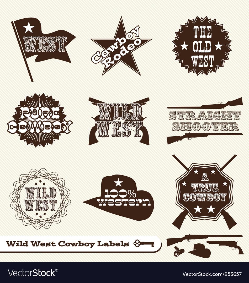 Cowboy labels vector