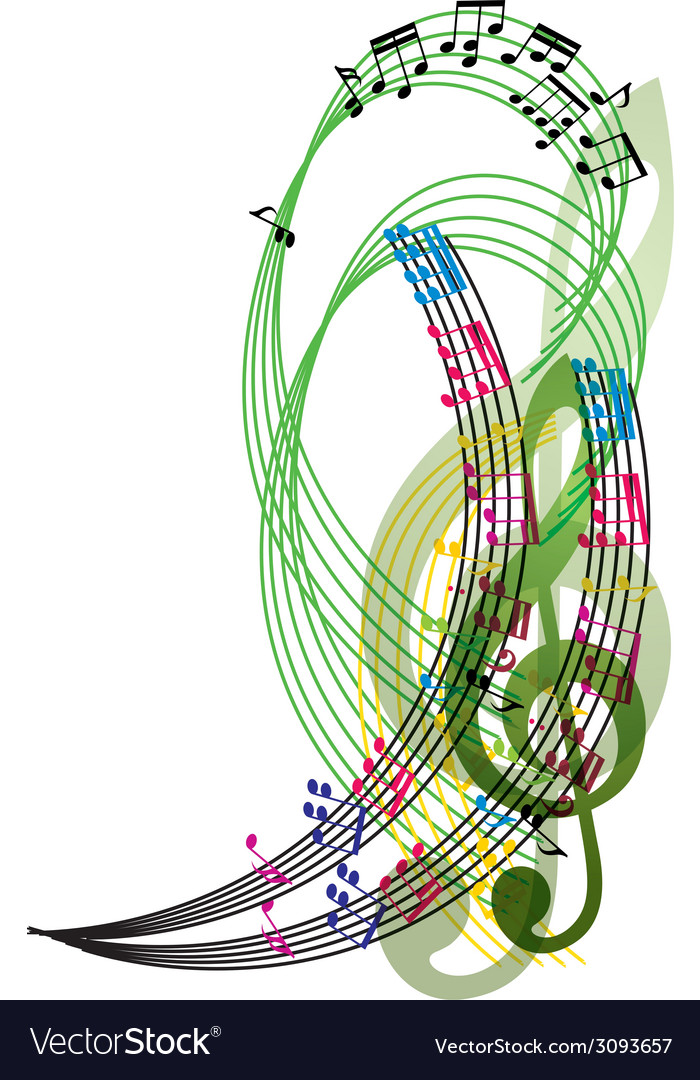Music notes background stylish musical theme vector