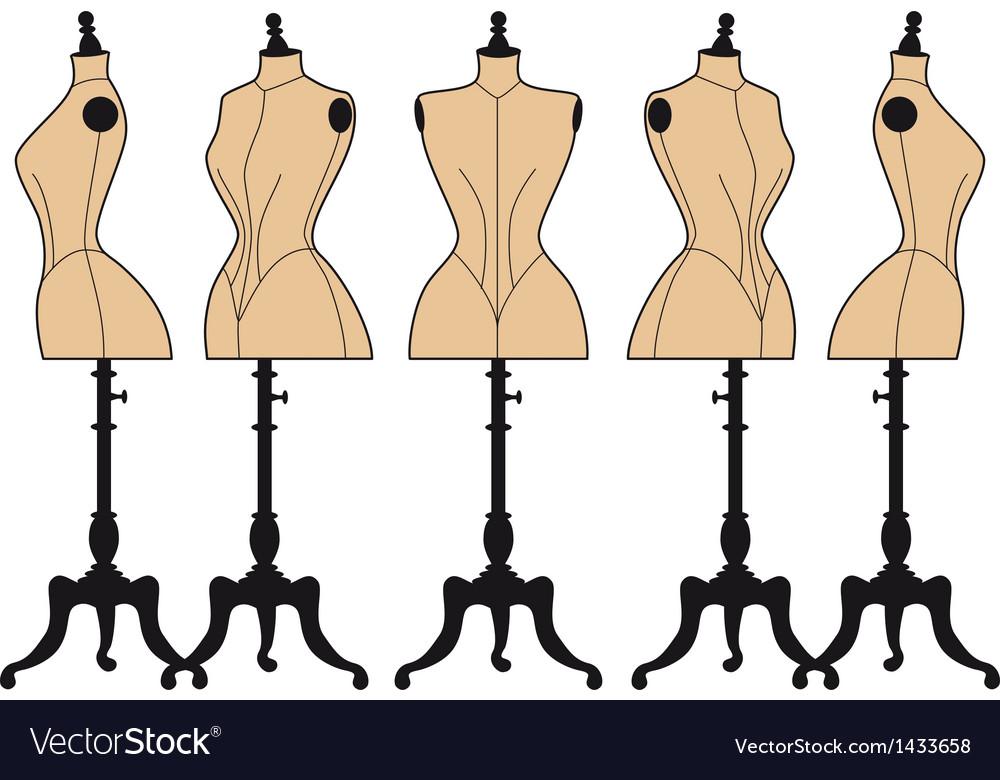 Vintage fashion mannequins set vector