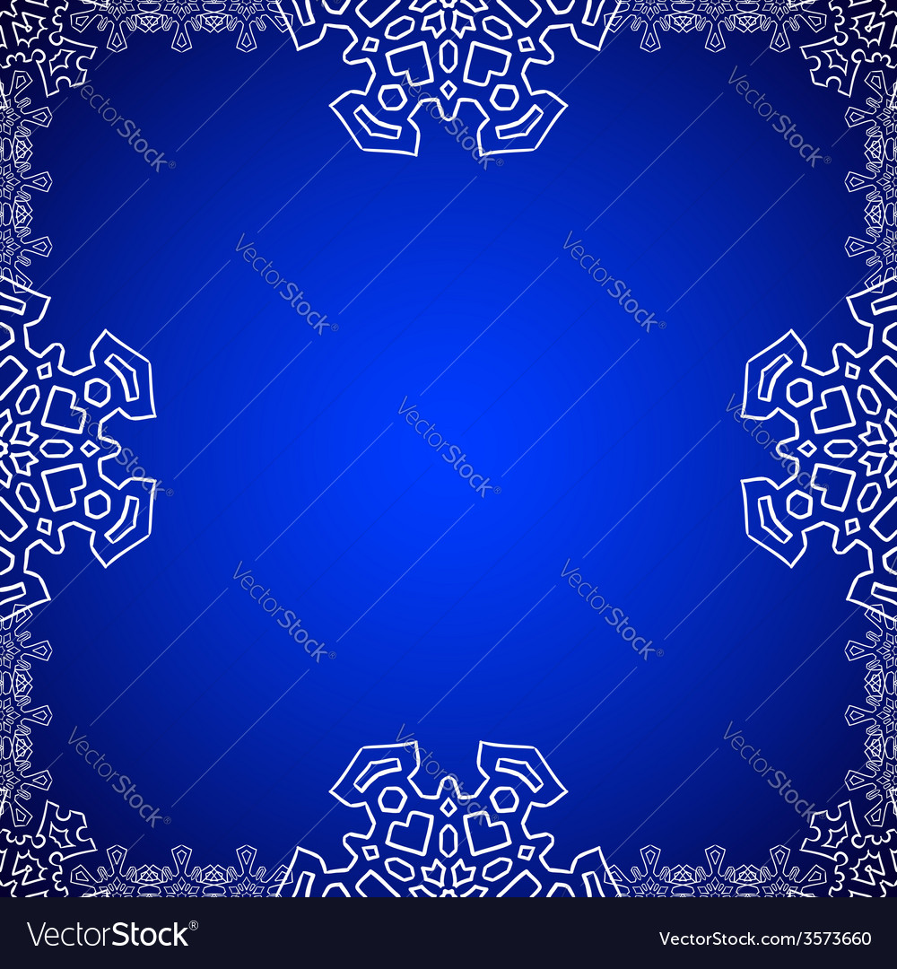Christmas frame with snowflakes on the edge vector