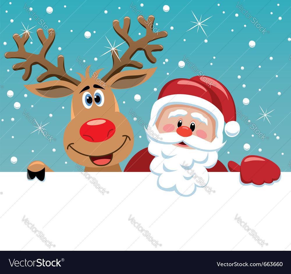 Santa claus and rudolph deer vector