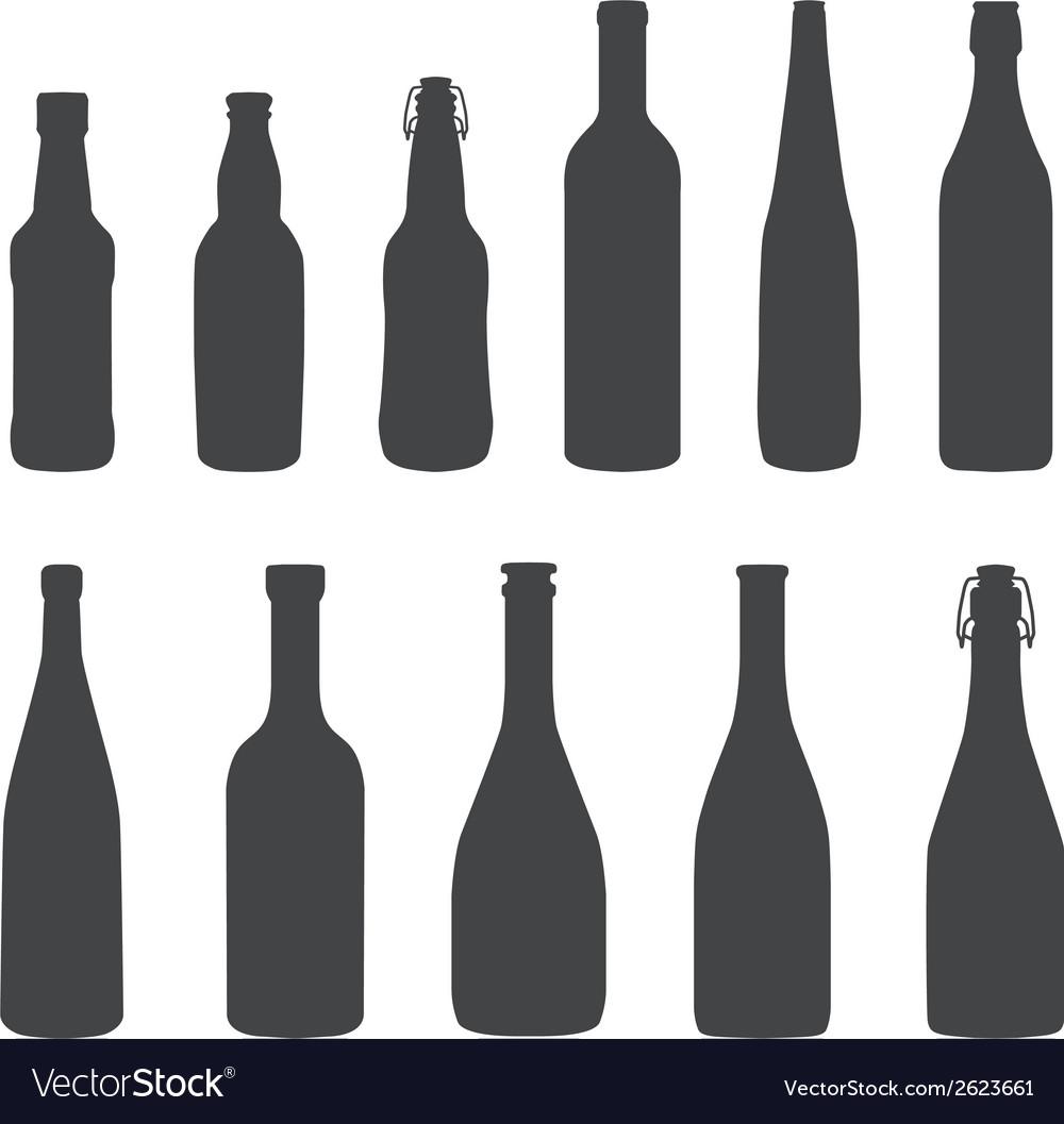 Alcohol bottles silhouette set vector