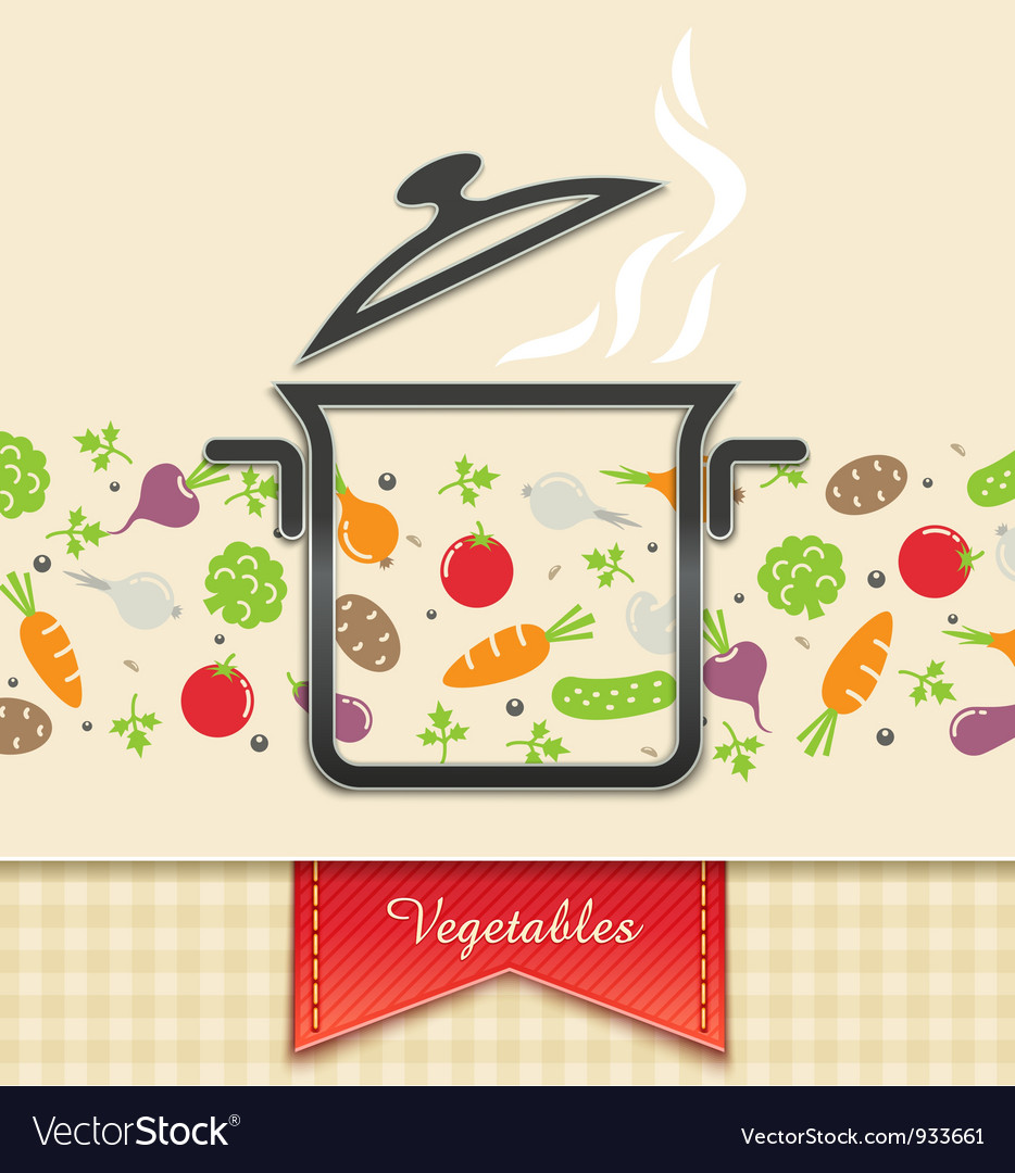 Pan with vegetable food vector