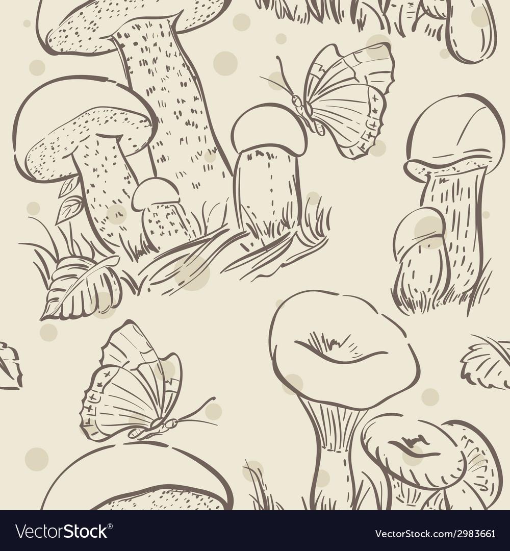 Seamless texture contour of white mushrooms autumn vector