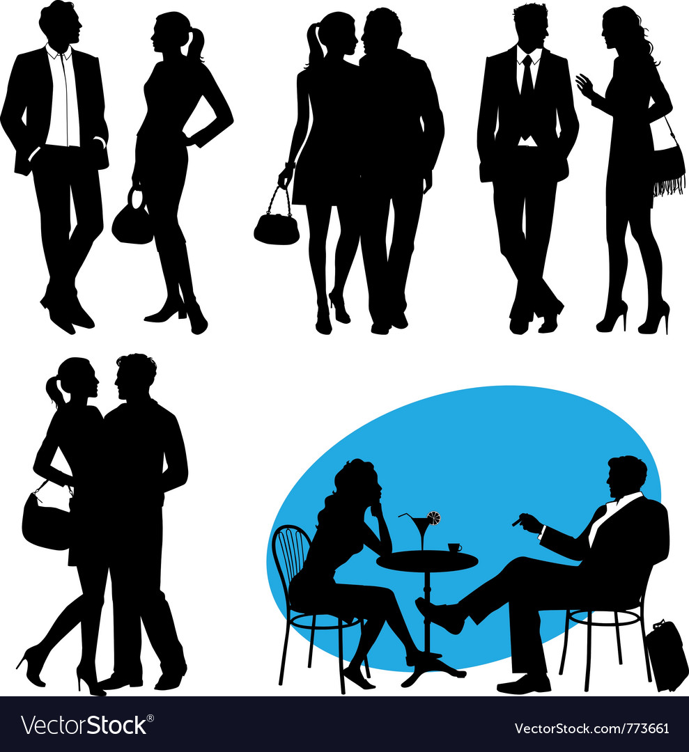 Several people - silhouettes city live vector