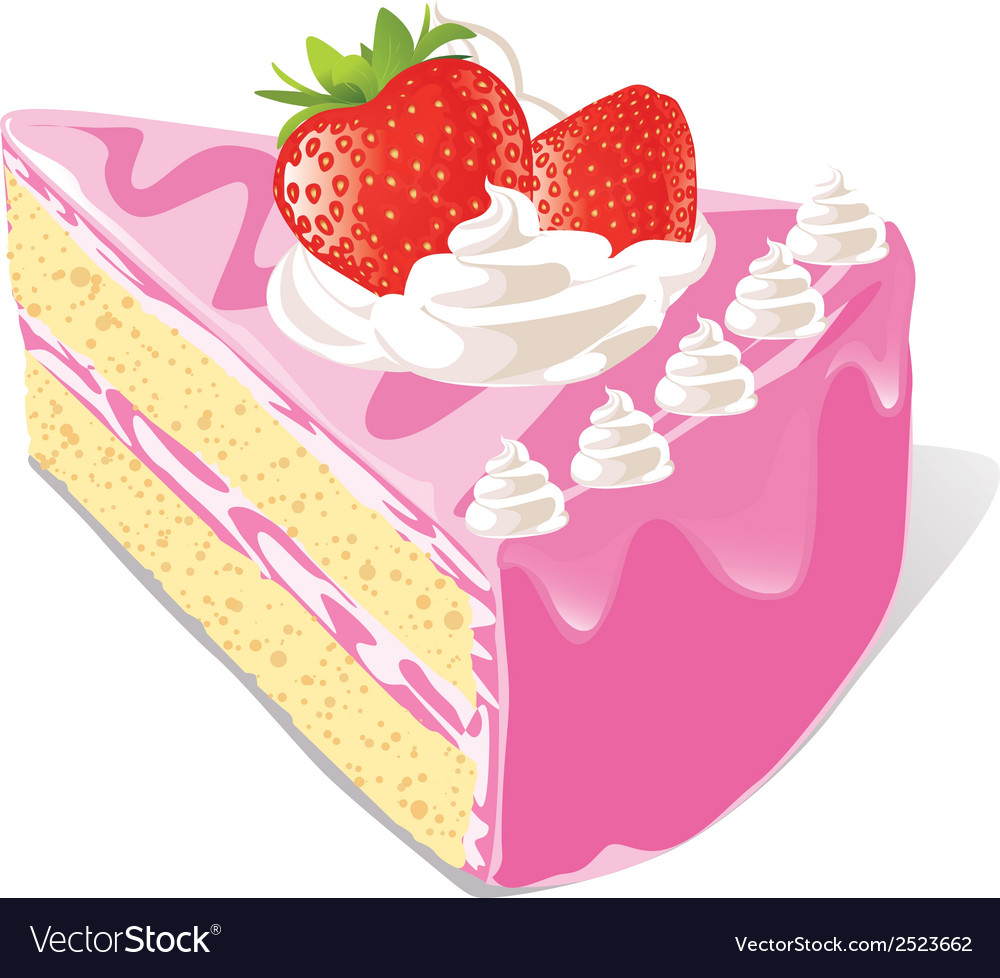 Strawberry cake vector