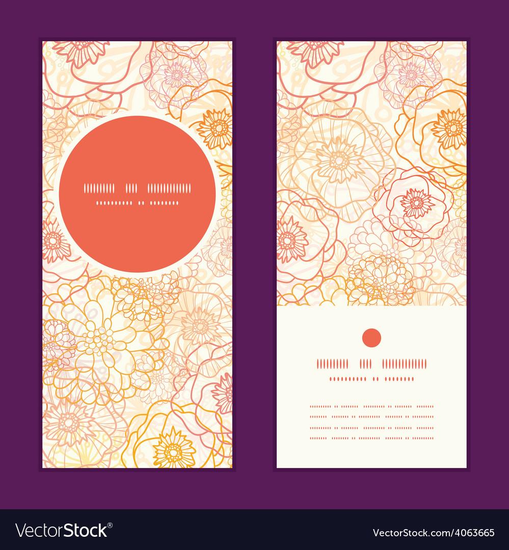 Warm flowers vertical round frame pattern vector