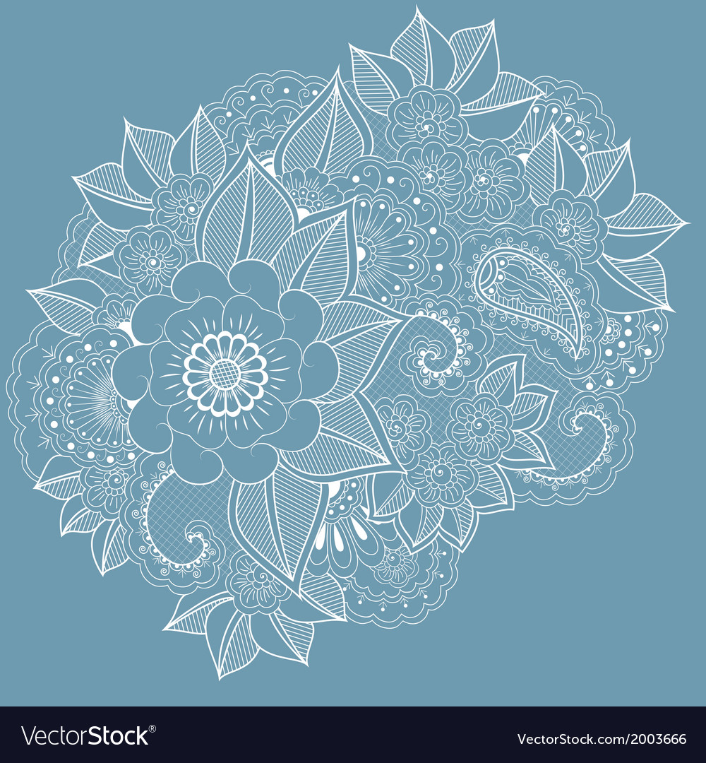 Abstract floral elements in indian mehndi style vector