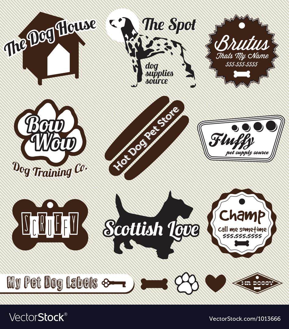 Dog and pet store labels vector