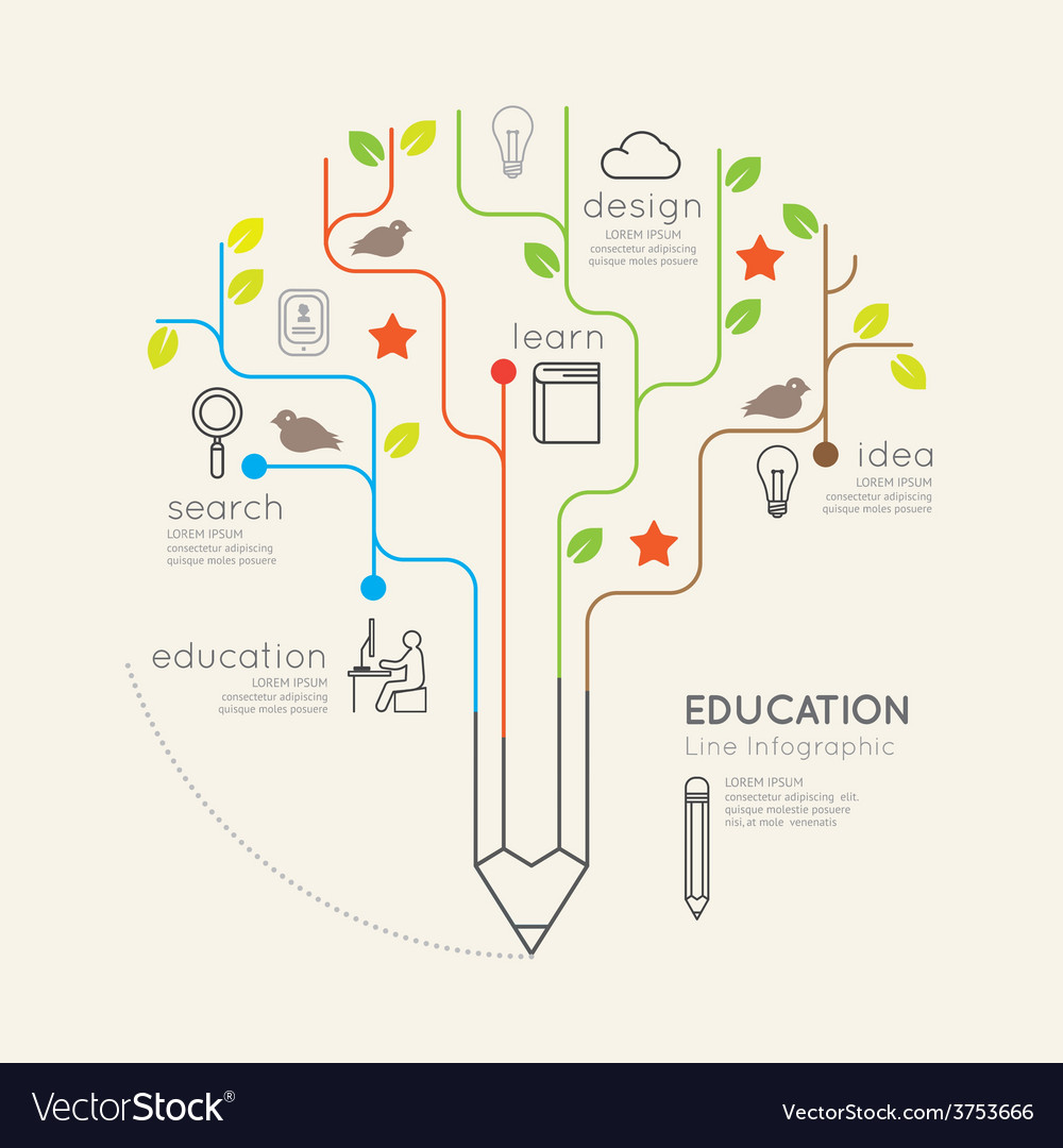 Flat linear infographic education pencil tree vector