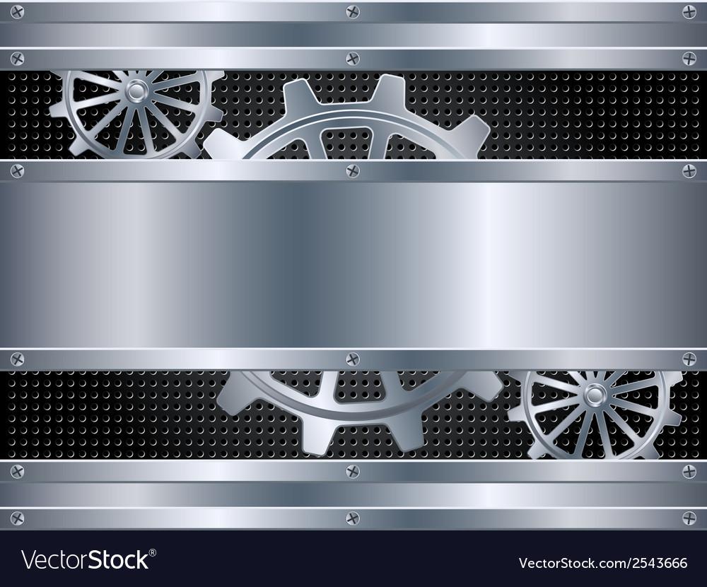 Metallic background with cogwheels vector