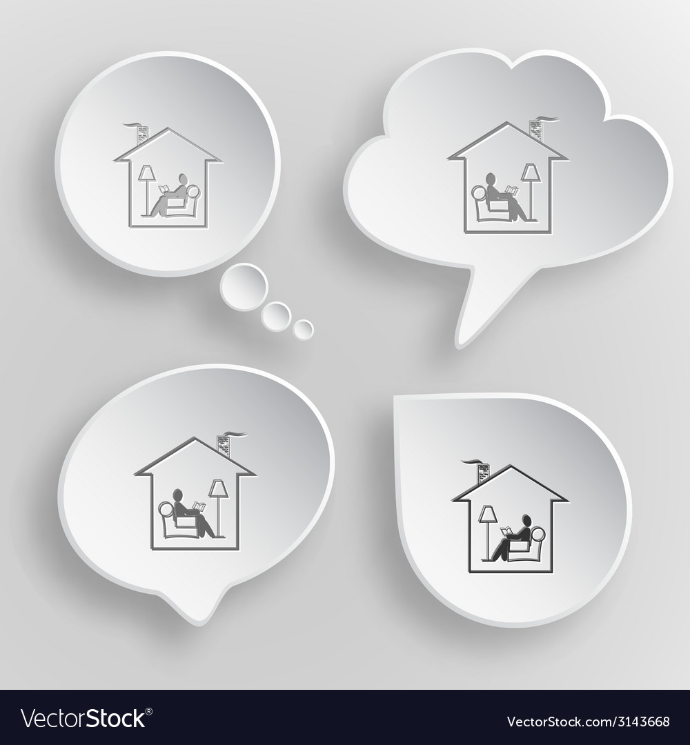 Home reading white flat buttons on gray background vector