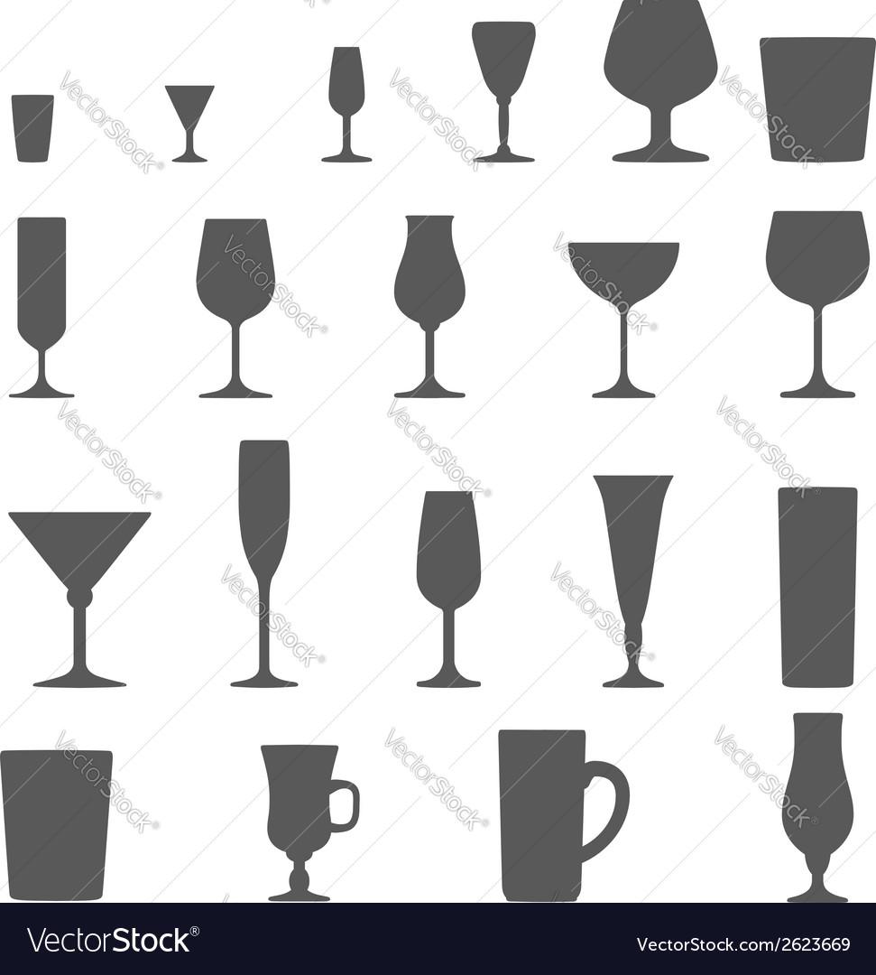 Alcohol glasses silhouette set vector