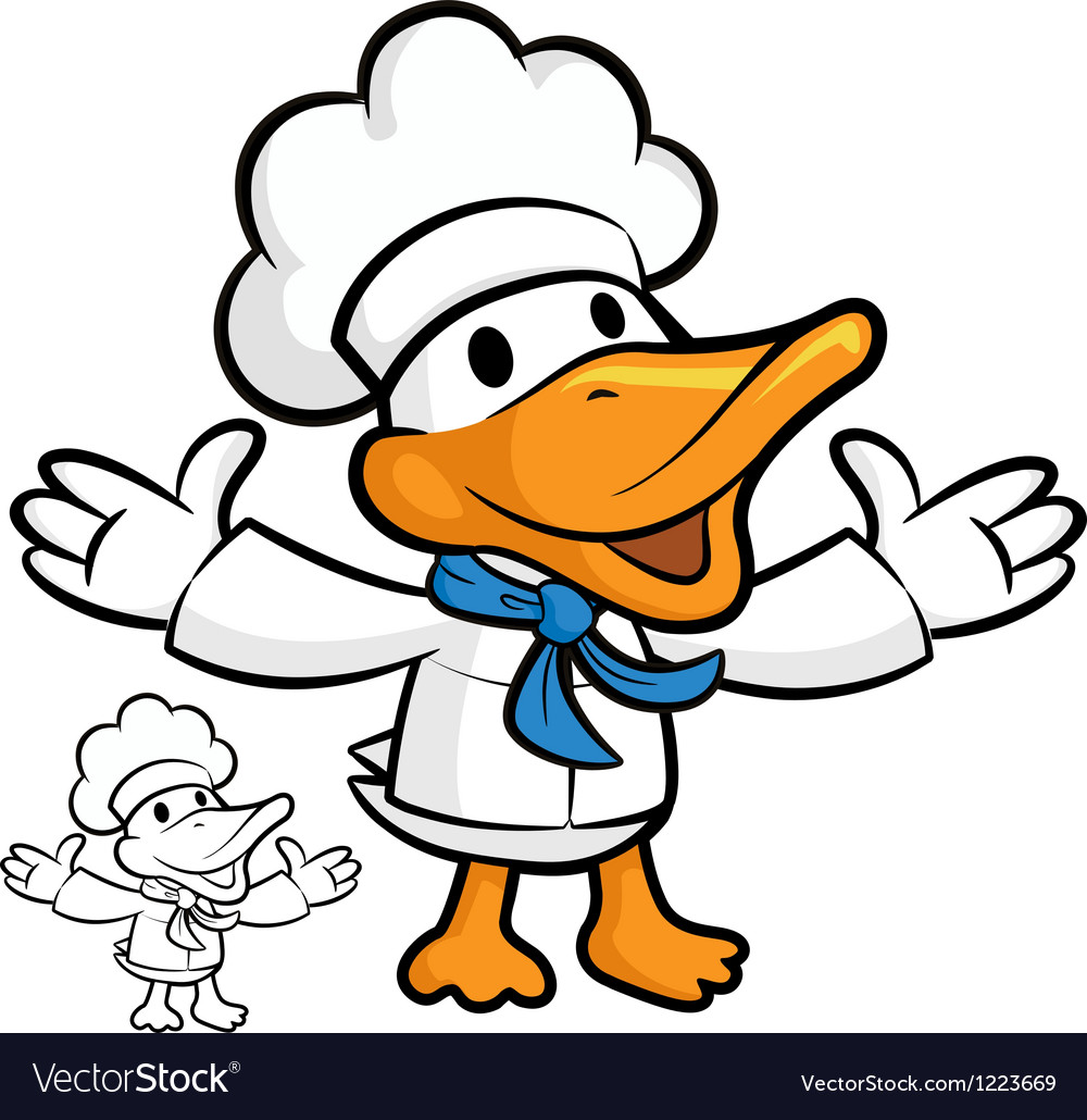 Cooks duck mascot stretched both hands to guide vector