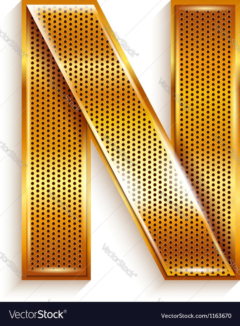 Letter metal gold ribbon - n vector