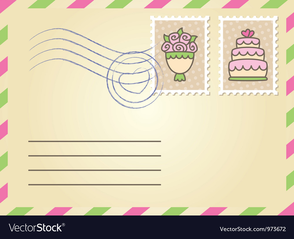 Wedding envelope vector