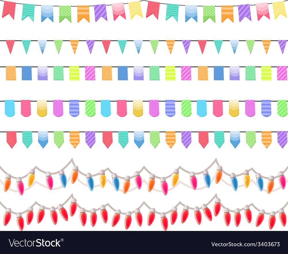 Seven festive horizontal seamless patterns vector