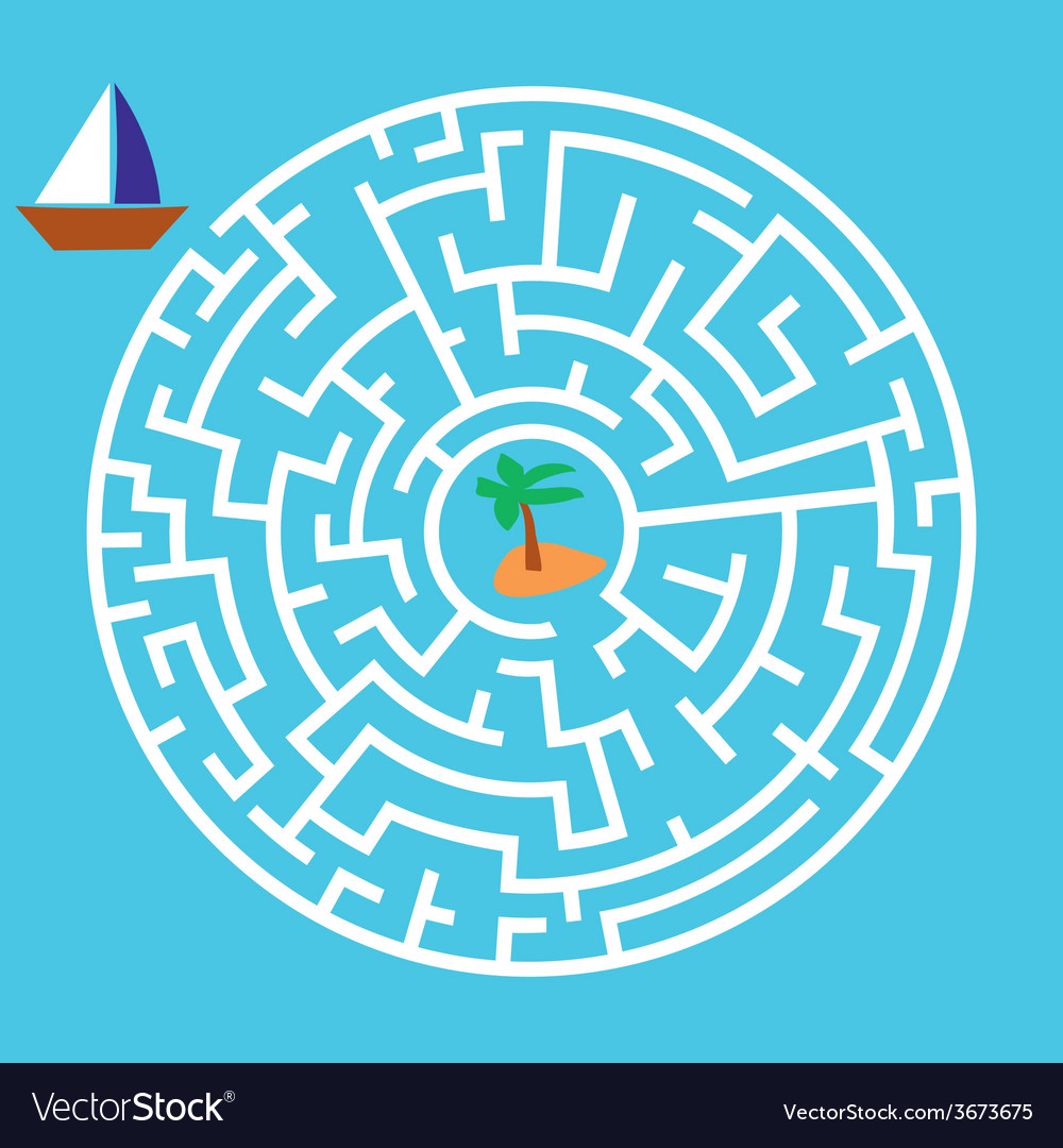 Maze game boat is looking for island vector