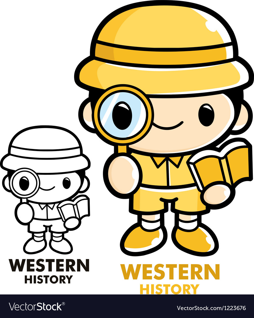 Archaeologist studying history vector