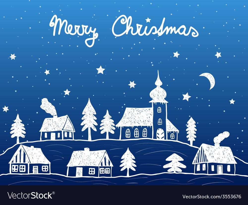 Christmas village with church at night vector
