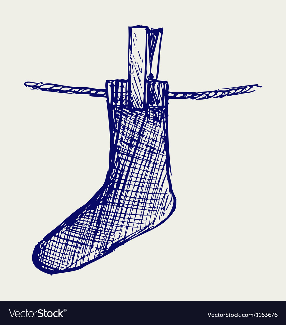 Socks made of a clap in clothesline vector