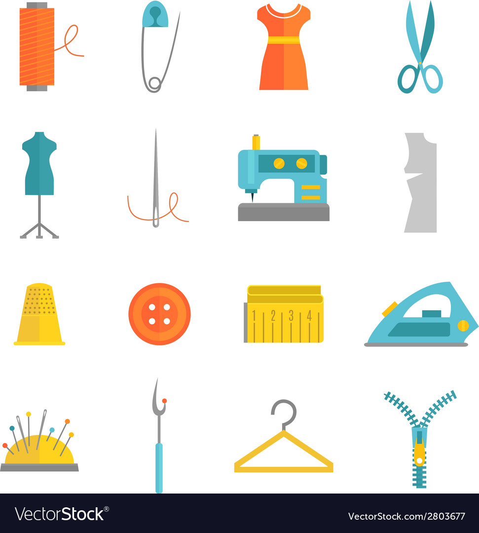 Sewing equipment icons set flat vector