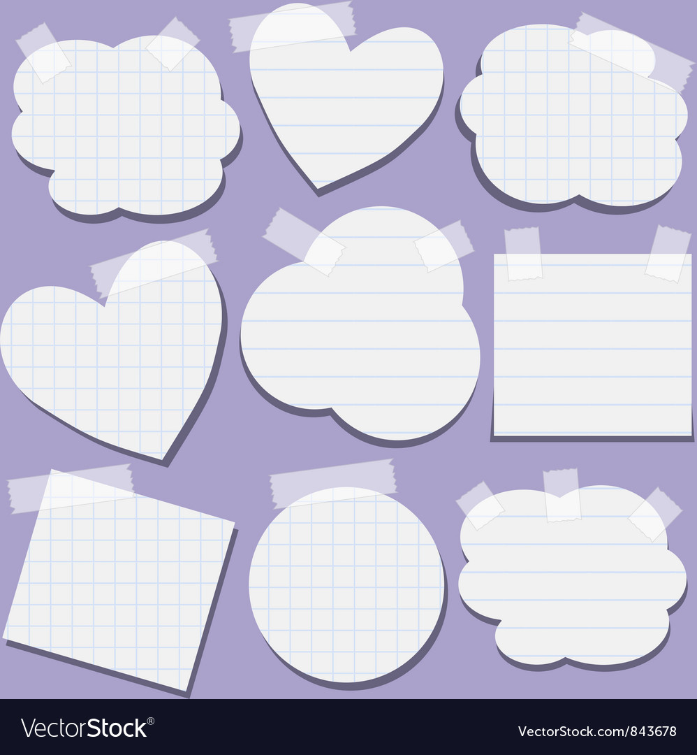 Set of paper stickers with tape vector