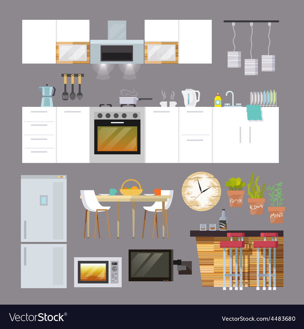 Kitchen furniture flat vector