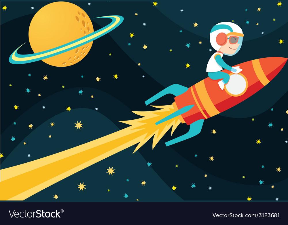 Rocket boy vector