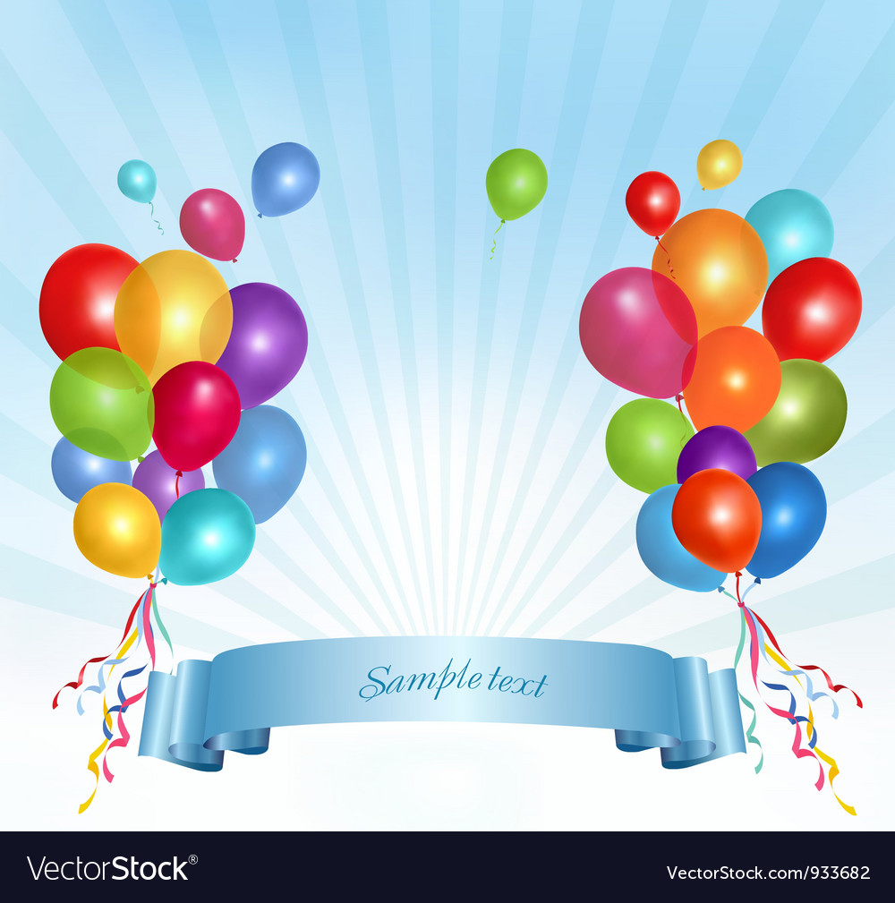 Holiday balloons frame composition vector