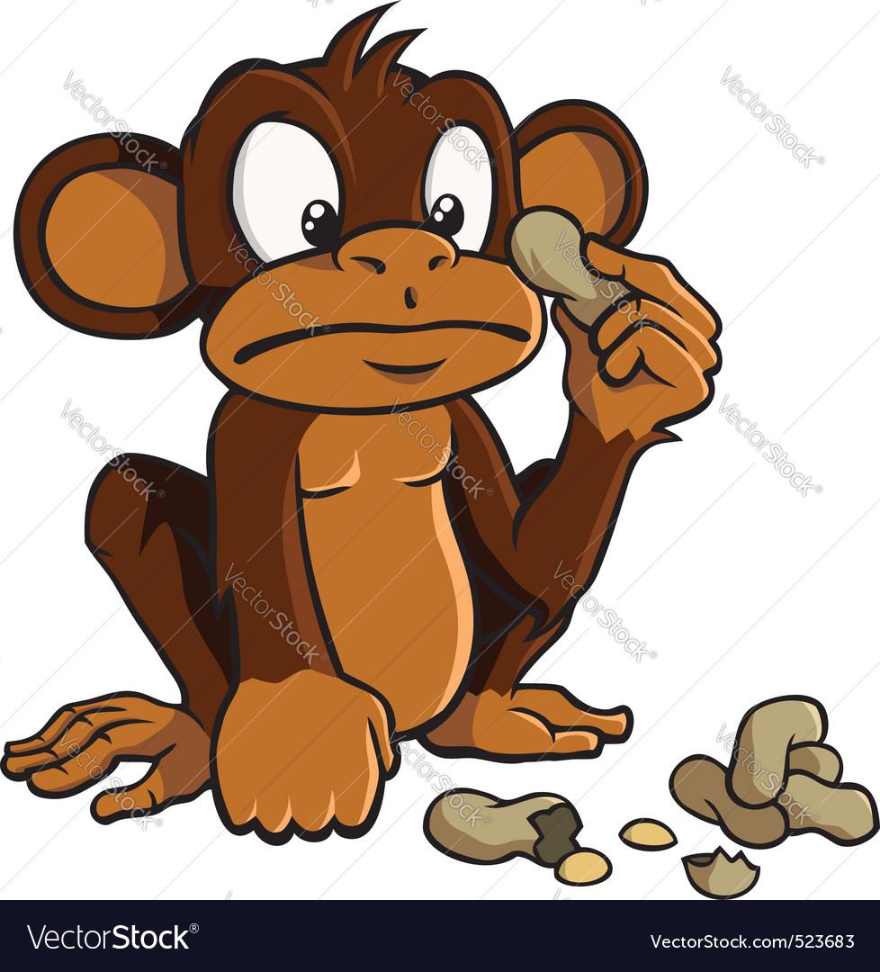 Cartoon monkey with peanuts vector