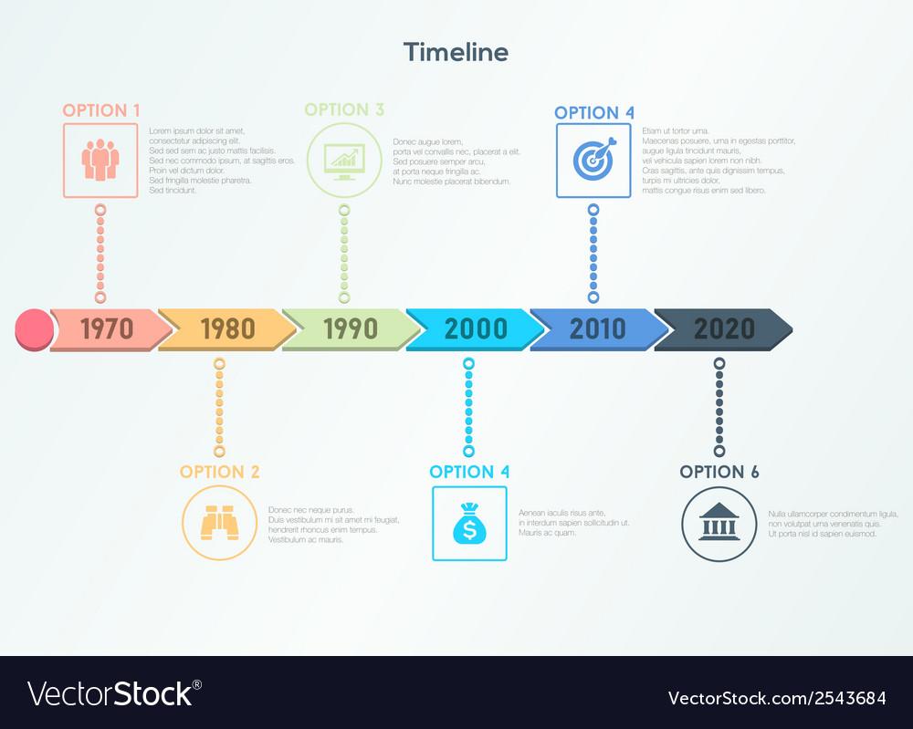 Retro timeline infographic vector