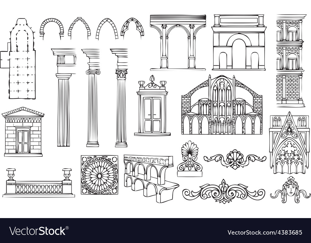 Architecture and ornaments set vector