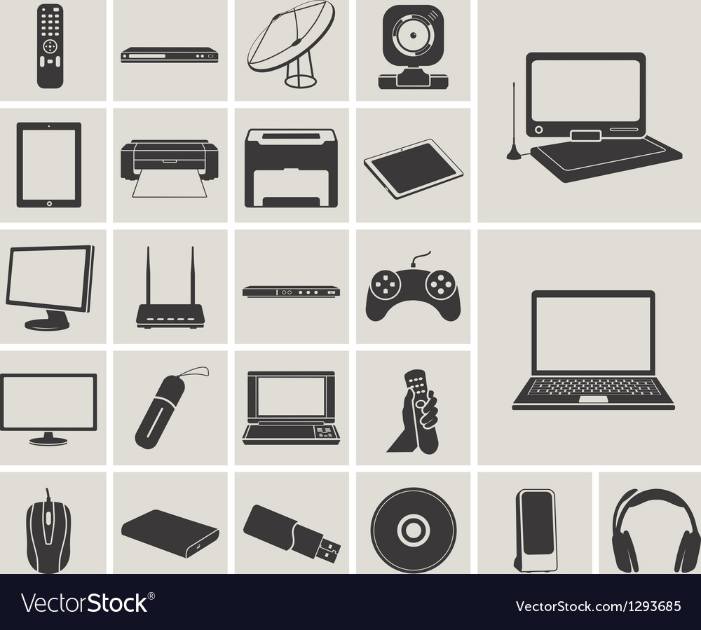 Computer electronic and media device icons set vector